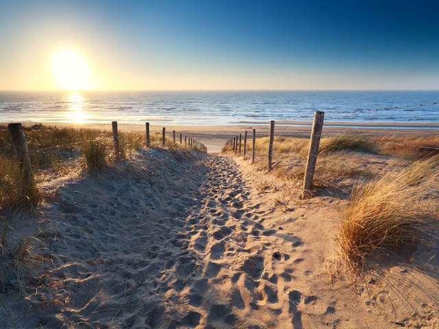 path to sand beach in North sea, Zandvoort aan zee, North Holland, NEtherlands