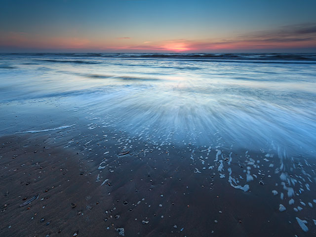 North sea beach in dusk, Zandvoort aan Zee, North Holland, Netherlands